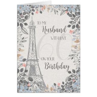 Torre Eiffel romântica do aniversário do marido Cartão Comemorativo