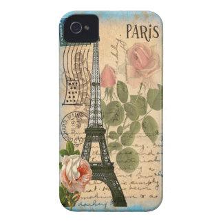 Torre Eiffel & rosas de Paris do chique Capa Para iPhone 4 Case-Mate