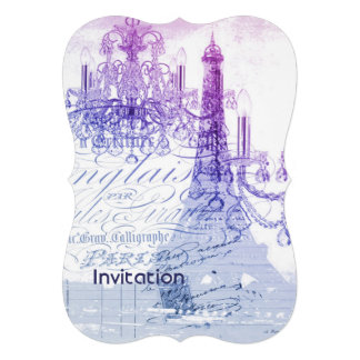 torre Eiffel roxa moderna de Paris do candelabro Convite Personalizados