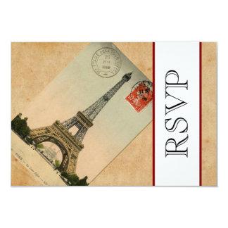 Torre Eiffel RSVP de Paris do vintage Convite 8.89 X 12.7cm