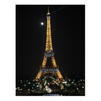 Torre Eiffel Sparkling no cartão do luar Cartão Postal