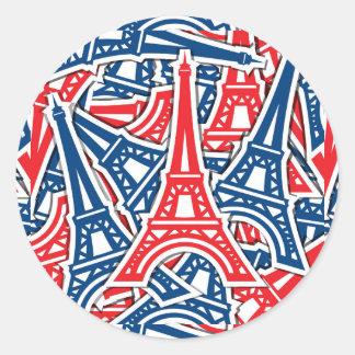 Torre Eiffel, teste padrão de France Adesivo Redondo