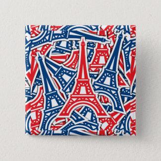 Torre Eiffel, teste padrão de France Bóton Quadrado 5.08cm