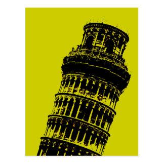 Torre inclinada do cartão do pop art de Pisa