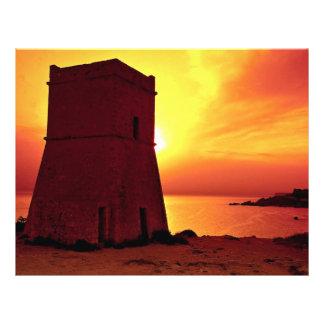 Torre no por do sol, baía do relógio do cruzado de panfletos personalizado