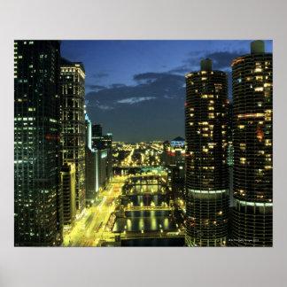 Torres do porto, Chicago River, movimentação de Wa Impressão