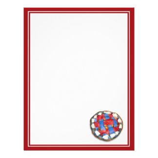 Torta de Apple branca e azul vermelha Panfletos Personalizado