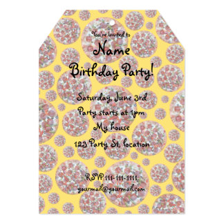 Torta de pizza amarela convite 12.7 x 17.78cm