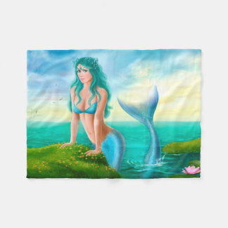 Tose a cobertura, sereia bonita da fantasia no mar cobertor de velo