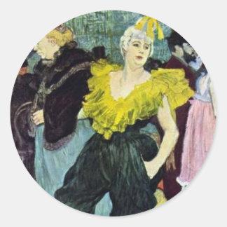 Toulouse Lautrec a imagem do vintage de Clowness, Adesivos Em Formato Redondos