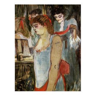 Toulouse-Lautrec - mulher Tattooed Cartão Postal