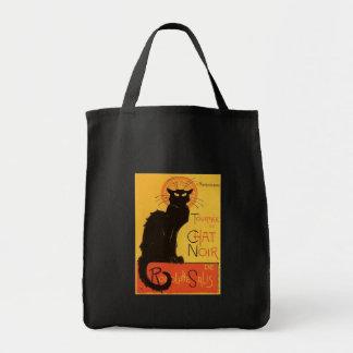 Tournée du Conversa Noir, vintage do gato preto de Sacola Tote De Mercado