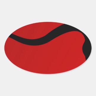 Touro preto no vermelho adesivos ovais