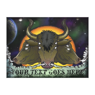 Touros demoníacos da galáxia do espaço com impressão em canvas