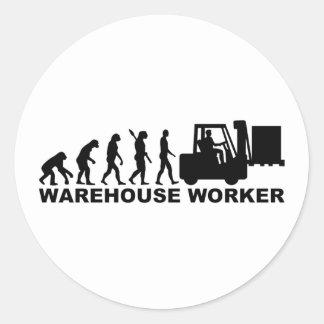 Trabalhador do armazém da evolução adesivo