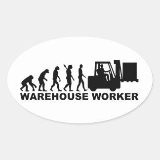 Trabalhador do armazém da evolução adesivo oval