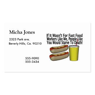 Trabalhador do fast food cartão de visita