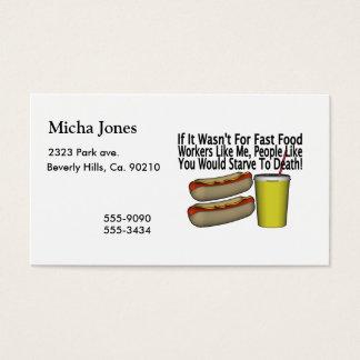 Trabalhador do fast food cartão de visitas