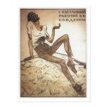 Trabalhador soviético feliz 1919 cartão postal