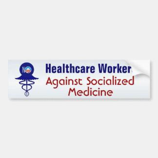 Trabalhadores dos cuidados médicos contra a adesivo de para-choque