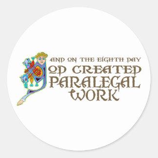 Trabalho criado deus do Paralegal Adesivo Em Formato Redondo