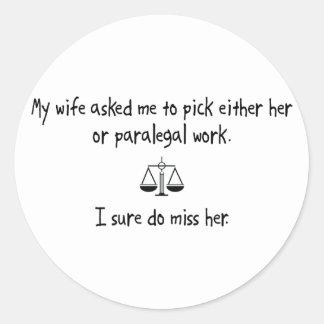 Trabalho da esposa ou do Paralegal da picareta Adesivos