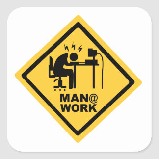 Trabalho do homem @ adesivo quadrado
