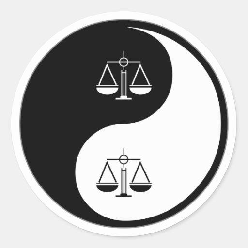 Trabalho do Paralegal de Yin Yang Adesivo Redondo