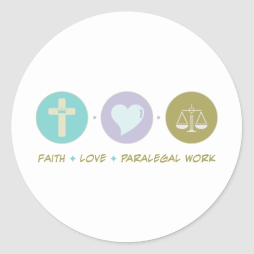 Trabalho do Paralegal do amor da fé Adesivo Redondo