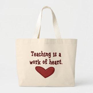 Trabalho do professor do coração sacola tote jumbo