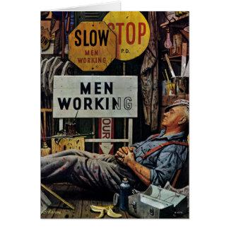 Trabalho dos homens cartão comemorativo