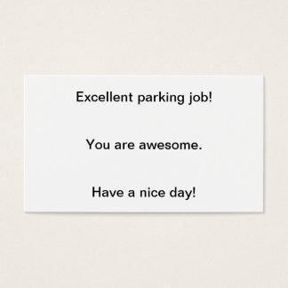 Trabalho excelente do estacionamento! cartão de visitas