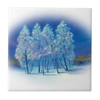 Trabalhos de arte abstratos da floresta dos abeto azulejo quadrado pequeno
