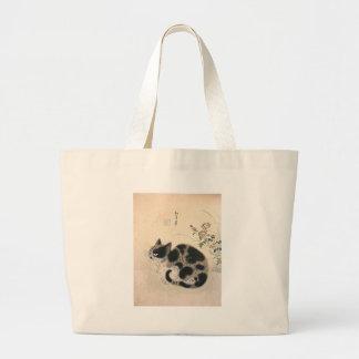 Trabalhos de arte coreanos do gato bolsas de lona