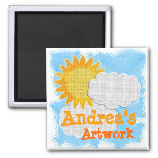 Trabalhos de arte de Childs (personalize) Ímã Quadrado