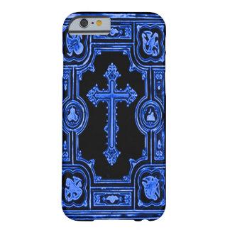 Trabalhos de arte decorativos transversais azuis capa barely there para iPhone 6