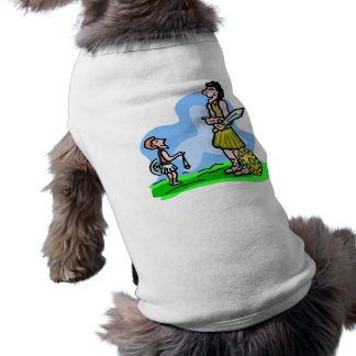 Trabalhos de arte do cristão de David e de Goliath Camisa Sem Mangas Para Cachorro