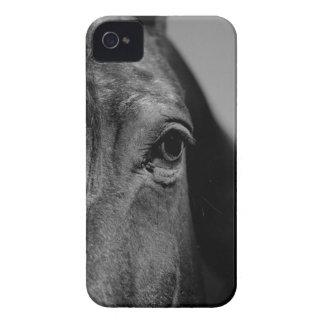 Trabalhos de arte pretos do olho do cavalo branco capa para iPhone 4 Case-Mate