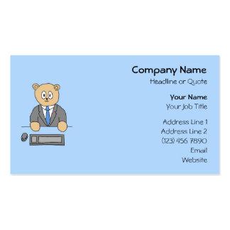 Trabalhos em um escritório. Laço azul Cartão De Visita
