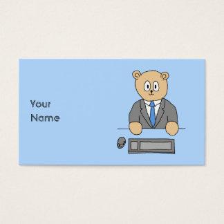 Trabalhos em um escritório. Laço azul Cartão De Visitas
