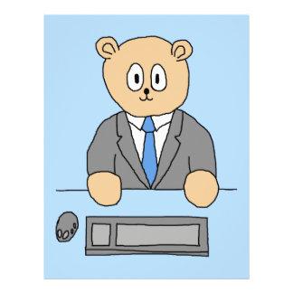 Trabalhos em um escritório. Laço azul Panfleto