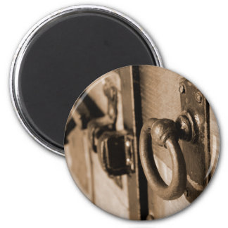 Tração do puxador da porta e Sepia antigos Ímã Redondo 5.08cm