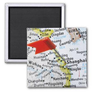 Trace o pino colocado em Shanghai, China no mapa, Ímã Quadrado
