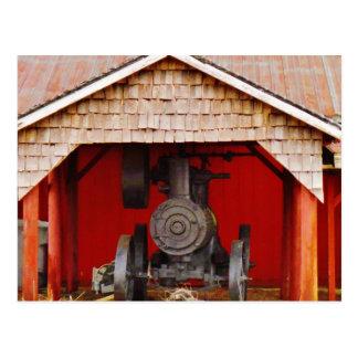Tracter antigo psto vapor cartão postal