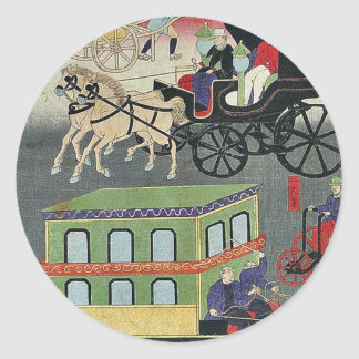 Tráfego veicular em Tokyo por Utagawa, Yoshitora Adesivo