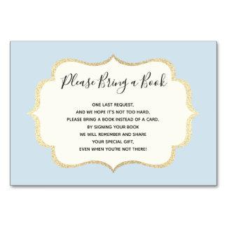 Traga um livro - cartões brancos azuis do chá de