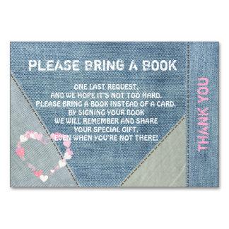 Traga um livro - cartões da sarja de Nimes/chá de