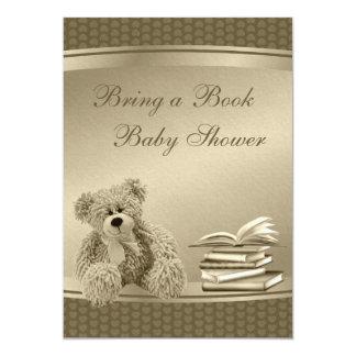 Traga um ursinho do livro & um chá de fraldas do convite 12.7 x 17.78cm