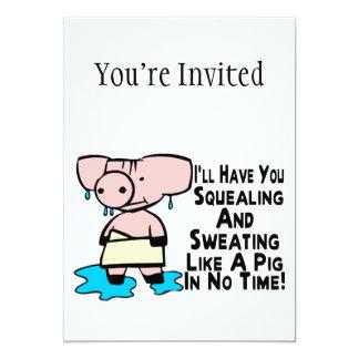 Transpiração como um porco convite 12.7 x 17.78cm