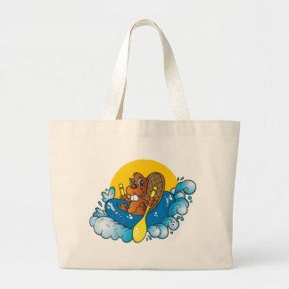 Transportar de rio do castor dos desenhos animados sacola tote jumbo